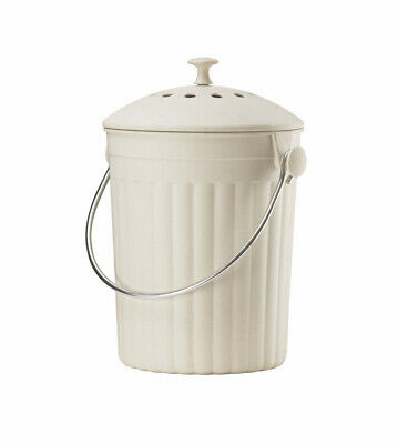 Eddingtons Eco Compost Pail Bin Cream w/ Lid & Filters made of Recycled Bamboo