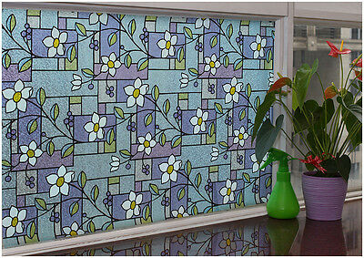 3D Embossed Textured Stained Glass Decorative Frosted Window Privacy Vinyl Film