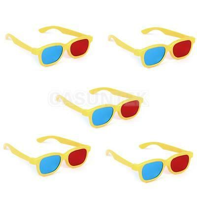 5 x KIDS SIZE 3D GLASSES RED/BLUE ANAGLYPH YELLOW FRAME FOR 3D TV MOVIE DVD