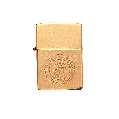 Zippo Solid Brass Marine Corps Lighter (Empty)