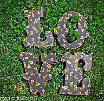 "painted, wooden ""LOVE"" letters, shabby, chippy, wedding, vintage, distressed"