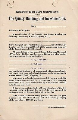 Quincy Building & Investment Co 2nd Mortgage Bonds Subscription Quincy IL