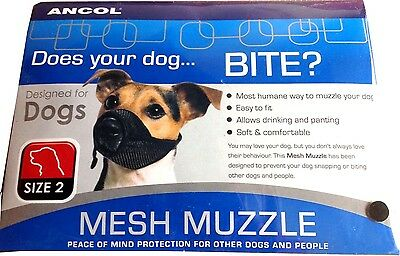 Ancol Mesh Dog Muzzle Size 3 Black Soft & Strong  Fabric Stressfree Your Dog