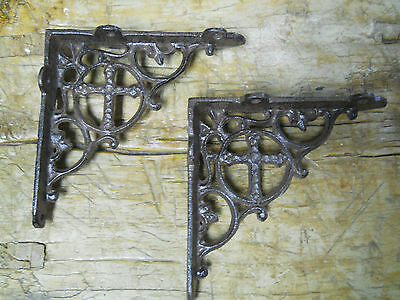 2 Cast Iron Antique Style CROSS Brackets, Garden Braces Shelf Bracket RUSTIC