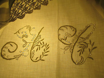 ANTIQUE French country st Tablecloth/spread hand done MONOGRAM FLORAL EMBROIDERY