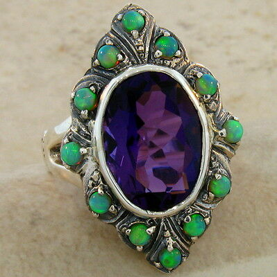 6 Ct. Purple Lab Amethyst & Opal Antique Victorian Design .925 Silver Ring, #521