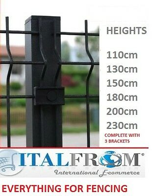 Square post anthracite wire mesh fences electro welded fence panel