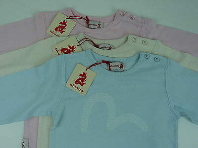 Authentic Evisu Kizzu Girls T/Shirt. 3m to 23m, Pink, Cream, Light Blue. BNWT