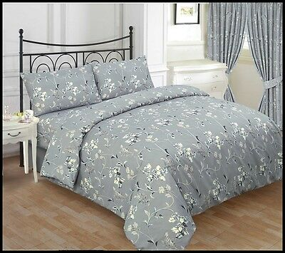 Luxury Jasmine Grey 3Pcs Printed Duvet Set With Pillow Cover Bedding All Sizes