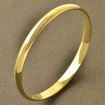 Smooth 9K Real Yellow Gold Filled Simple Children's Bangle Bracelet,Z4264
