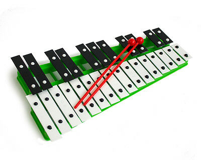 ProKussion 27 Key Chromatic Glockenspiel Xylophone in Green and 2 Free Beaters
