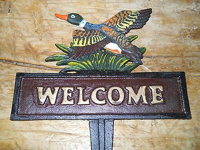 Cast Iron DUCK WELCOME Sign Garden Stake Home Decor Mallard Pond Plaque Fowl