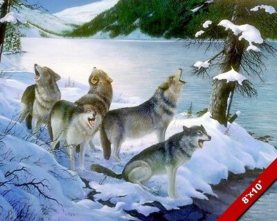 Pack Of Wolves Howling In Snow Wilderness Wild Painting Art Real Canvas Print