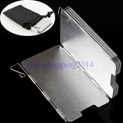 Hot 9 Plates Aluminum Foldable Camping BBQ Cookout Stove Wind Shield Screen