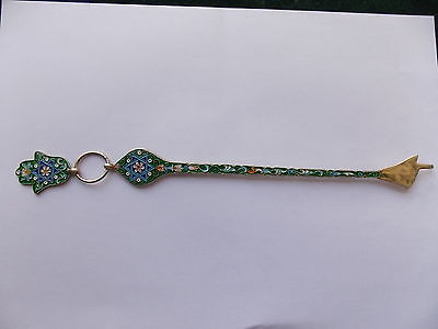 Antique Judaica Torah Pointer Yad 925 Sterling Silver Enamel Israel