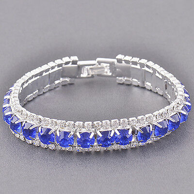 Stunning Silver Plated Sapphire/Cubic Zirconia Womens Bracelet,7.08 inches,Z2673