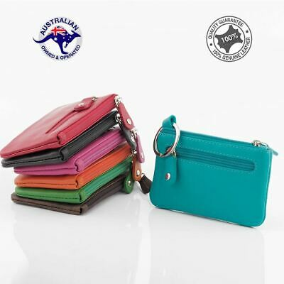 Genuine Leather Multi Colours Men Women Zippered Wallet Coin Purse Key Ring