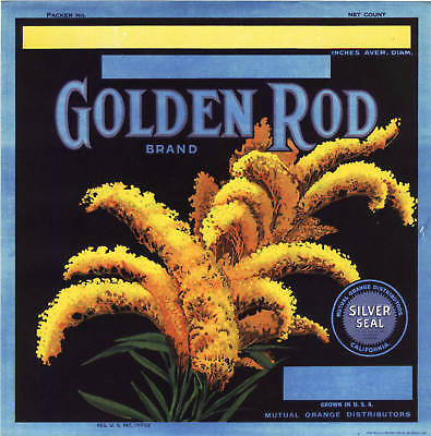 Golden Rod Orange Crate Label Floral California Vintage 1930S Fruit Advertising