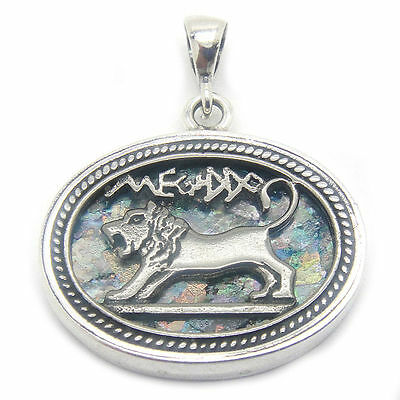 Beautiful 925 Sterling Silver Ancient Roman Glass Pendant Lion Of Judah