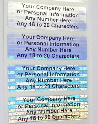 "100 SVAG Hologram .625"" x 2"" CUSTOM Print Warranty Security Label Sticker Seals"