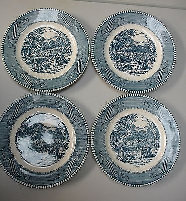 Vintage Royal China-Currier & Ives 4 Bread Dessert Plate- Harvest- Blue-MINT