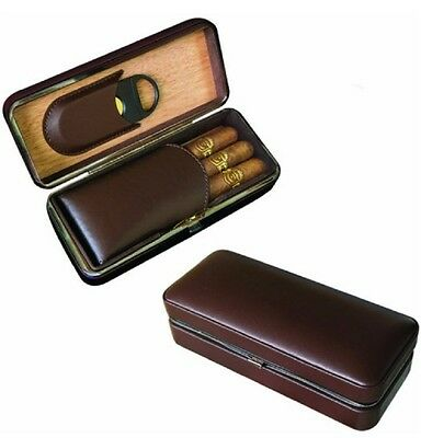 3 Cigar Case Brown Leather Wood Lined Travel Humidor with Guillotine Cutter
