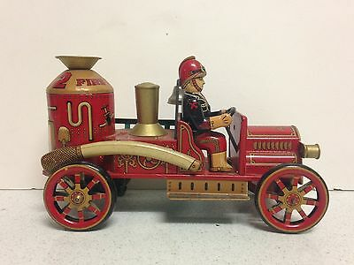 Vintage Modern Toys 1912 Fire Engine Truck with Driver Tin Metal Wind up Toy
