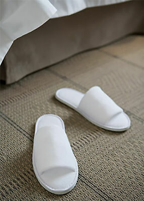 BULK 10 x TERRY TOWELLING WHITE GUEST/ SPA/ HOTEL SLIPPERS, 5 STAR HOTEL QUALITY