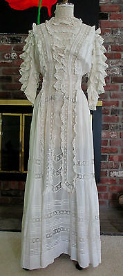 GORGEOUS 1900s VINTAGE WHITE VICTORIAN EDWARDIAN LAWN TEA LACE DRESS TINY TUCKS