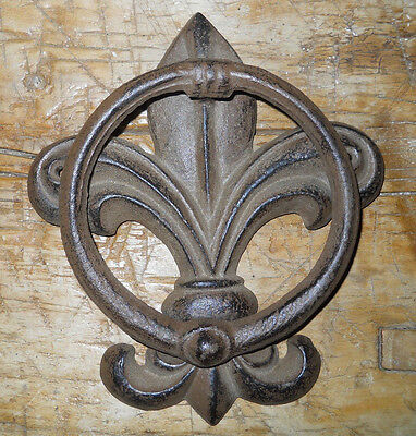 Cast Iron Antique Style FLUER DE LIS Door Knocker Brown Finish • CAD $12.69