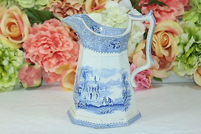 "Adams, Romantic Period, 1830, Blue and White Pitcher, ""Columbia"""