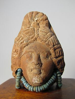 Romano Egyptian Terracotta Head w/ Faience beads, 2nd Cent. B.C - 2nd Cent A.D.