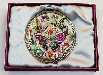 Beautiful Hand Mirror Compact Mirror Mother of pearl Tiger Swallowtail DS0046