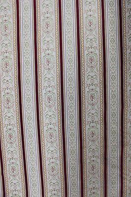 2+ YDS BURGUNDY STRIPED FABRIC Medallion Brocade Upholstery Victorian French