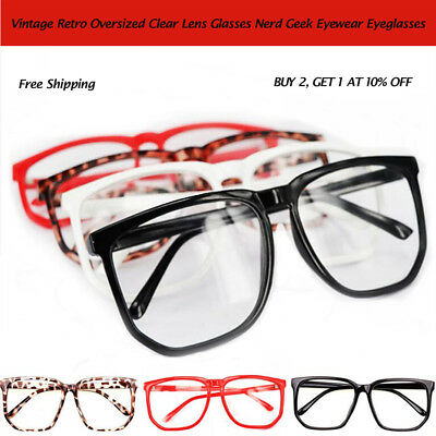 Fashion Vintage Retro Oversized  Clear Lens Glasses Nerd Geek Eyewear Eyeglasses