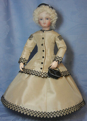 "Adelaide's Diamond Motif 100% Silk Taffetta Gown for a 12"" French Fashion Doll"
