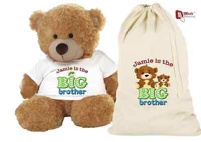 PERSONALISED TEDDY BEAR & GIFT BAG 'BIG BROTHER'- ANY NAME-Cute Design