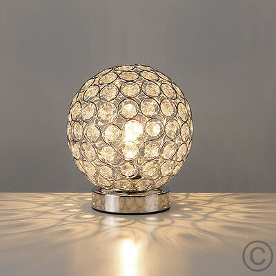 Modern Silver / Chrome & Acrylic Crystal Touch Dimmer Table Lamp Lights Lamps