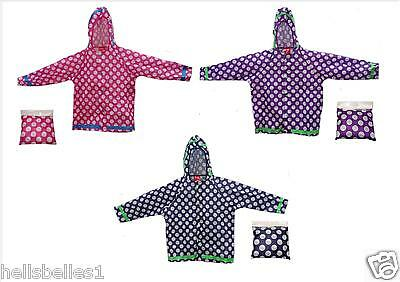 Boy/Girl 100% Polyester Showerproof Spotted Raincoat/Mac With Pouch 3-10Yrs