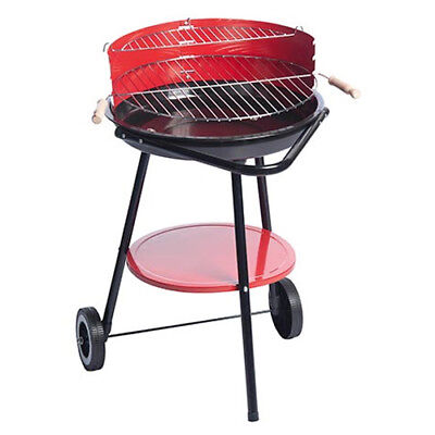 Barbecue Steel Grill a Carbone 49,5x61,5x76 cm Con 2 Ruote BBQ Collection Rosso