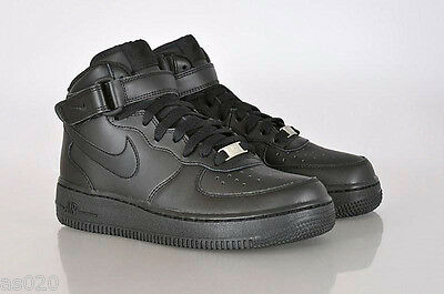 Nike Air Force 1 GS Boys Girls Kids Junior Mid Top Trainers Shoes - All Black