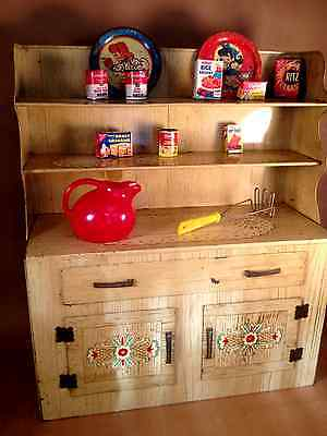 Vintage Wolverine Toy Kitchen Hutch 1950s Tin Lithography with Fun Accessories