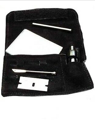Large Snorter Sniffer Snuff Tube Powder Dispenser Suede Kit Pouch With Mirror