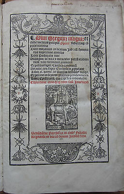 Post Incunable Gregor I Opera Folio Regnault 1521