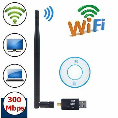 300Mbps Wireless USB WiFi Adapter LAN Internet Network Dongle +Antenna for PC