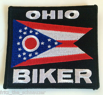 OHIO BIKER PATCH EMBROIDERED IRON-ON STATE FLAG EMBLEM NEW