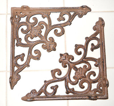 2 Cast Iron Antique Style ARROW Brackets, Garden Braces Shelf Bracket
