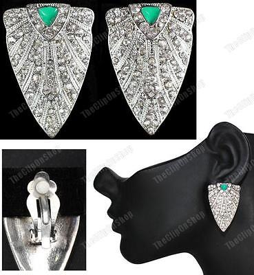 CLIP ON art deco CRYSTAL EARRINGS rhinestone TRIANGLE green/silver vintage style
