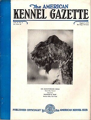 Vintage American Kennel Gazette August 1935 Kerry Blue Terrier Cover