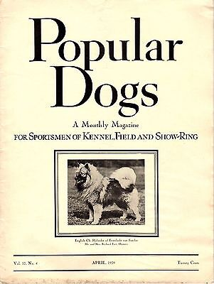 Vintage Popular Dogs Magazine April 1939 Keeshond Cover